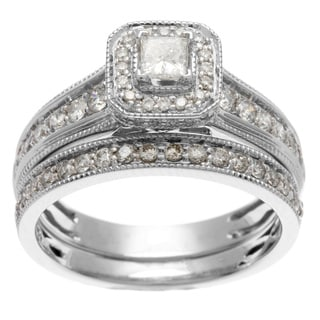 Sofia 14k White Gold 1ct TDW Certified Princess Cut Diamond Bridal Set (H-I, I1-I2)