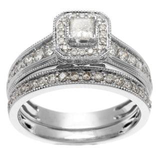 Sofia 14k White Gold 1ct TDW IGL Certified Princess Cut Diamond Bridal Set
