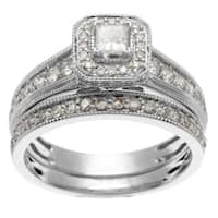 Sofia 14k White Gold 1ct TDW IGL Certified Princess Cut Diamond Bridal Set