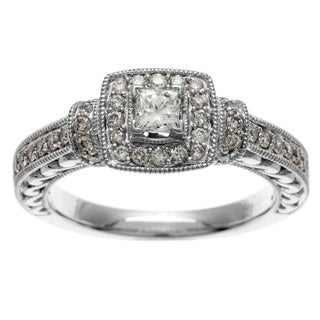 Sofia 14k White Gold IGL Certified 3/4ct TDW IGL Certified Diamond Engagement Ring