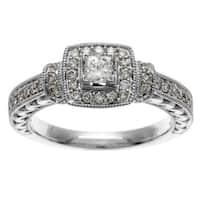 Sofia 14k White Gold IGL Certified 3/4ct TDW IGL Certified Diamond Engagement Ring