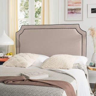 Safavieh Dane Taupe/ Black Piping Linen Upholstered Headboard (Queen)