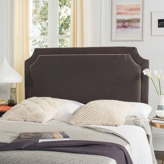 Safavieh Dane Charcoal Grey/ Light Grey Piping Linen Upholstered Headboard (Queen)