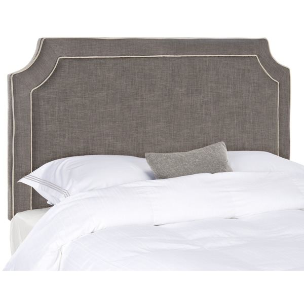 Safavieh Dane Charcoal Grey Light Piping Linen Upholstered Headboard Queen