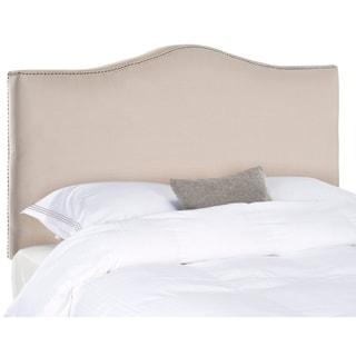 Safavieh Jeneve Taupe Linen Upholstered Camelback Headboard - Silver Nailhead (Full)