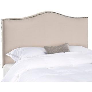 Safavieh Jeneve Taupe Linen Upholstered Camelback Headboard - Brass Nailhead (Full)
