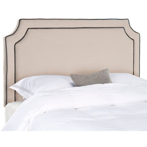 Safavieh Dane Taupe/ Black Piping Linen Upholstered Headboard (Full)