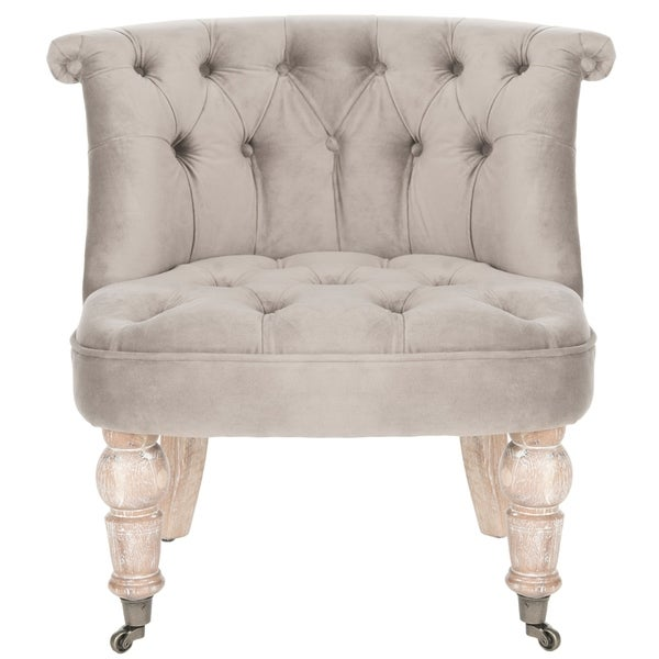 "Safavieh Carlin Mushroom Taupe Tufted Chair - 26.4"" x 24.2"" x 27"""