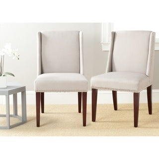Safavieh En Vogue Dining Humphry Taupe Linen Dining Chairs (Set of 2)