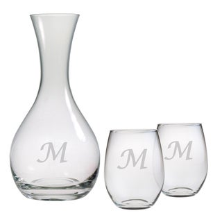 Personalized Carafe and Stemless Wine Glass 3-Piece Set