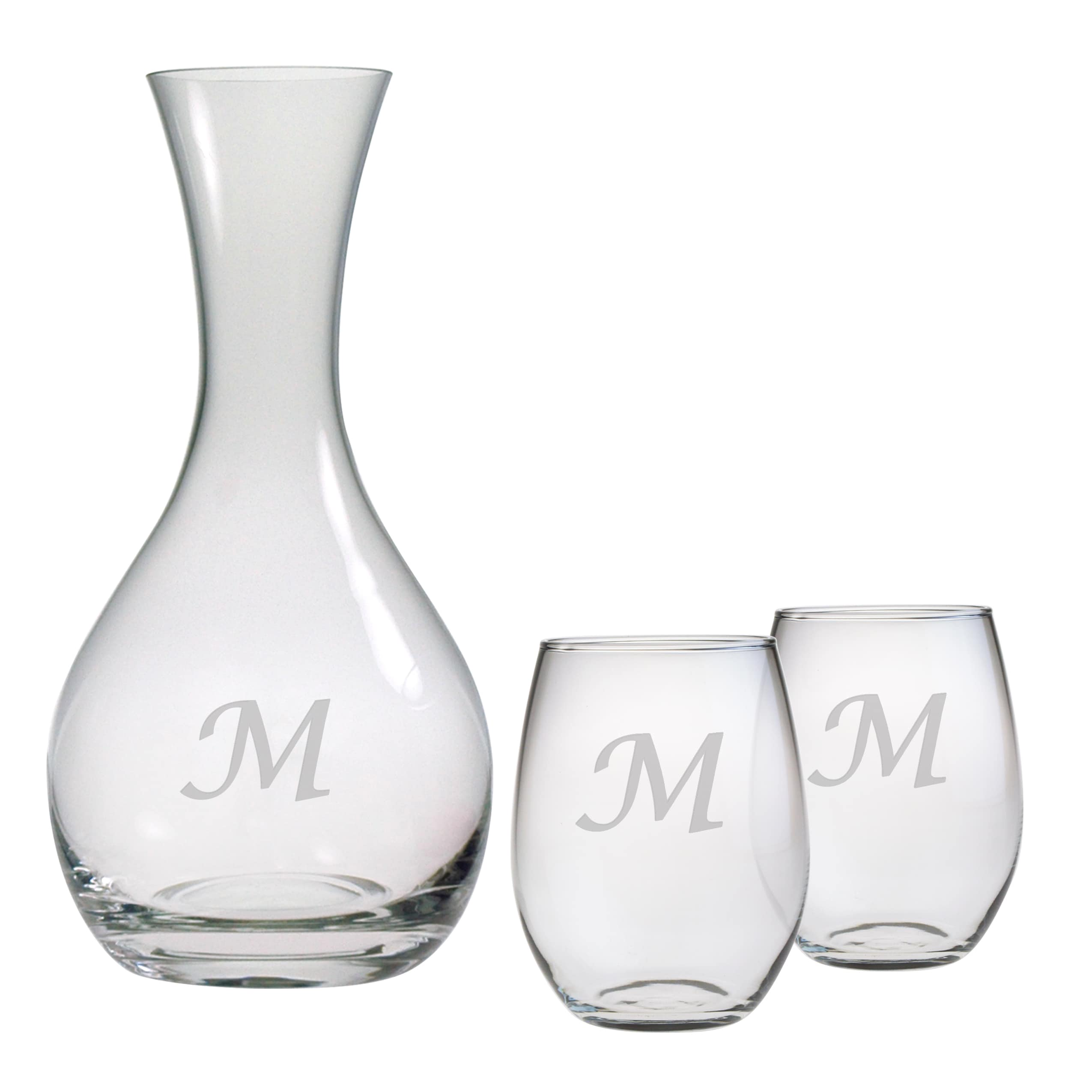 Personalized Carafe and Stemless Wine Glass 3-Piece Set (...