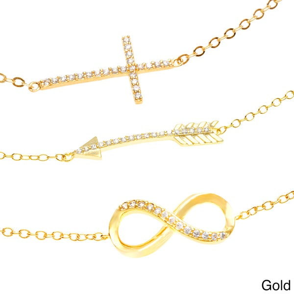 Dolce Giavonna Plated CZ Cross, Arrow and Infinity Bracelet Set