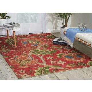Waverly Global Awakening Imperial Dress Garnet Area Rug by Nourison (5' x 7')