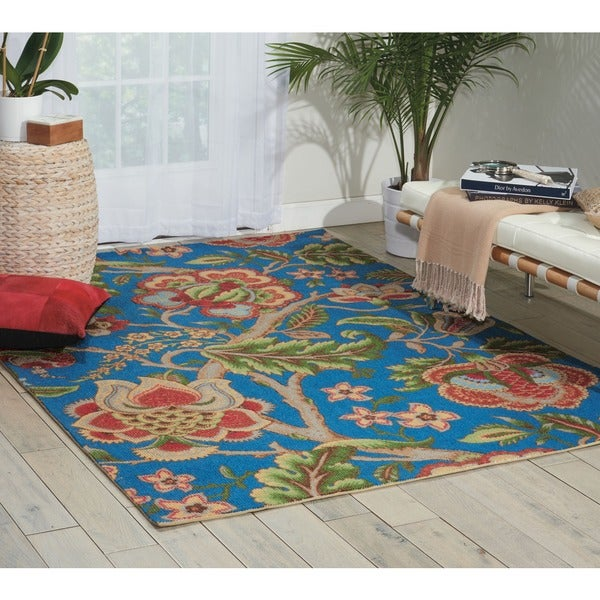 Waverly Global Awakening Imperial Dress Sapphire Area Rug by Nourison - 5' x 7'