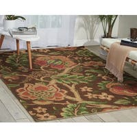 Waverly Global Awakening Imperial Dress Chocolate Area Rug by Nourison - 5' x 7'