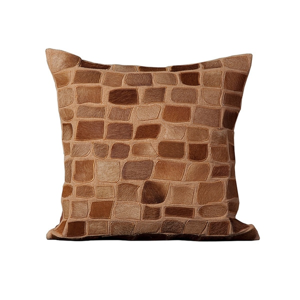Mina Victory Natural Leather and Hide Pebbles Amber Throw Pillow (20-inch x 20-inch) by Nourison