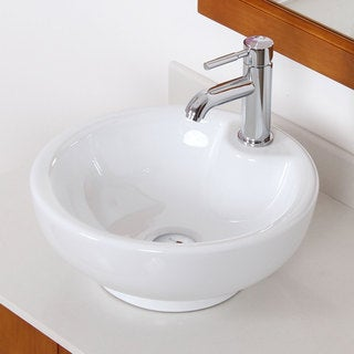 Elite 4074F371024C High-temperature Grade-A Round Ceramic Bathroom Sink and Chrome Finish Faucet Combo