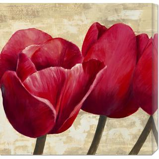 Global Gallery Cynthia Ann 'Red Tulips (detail)' Stretched Canvas