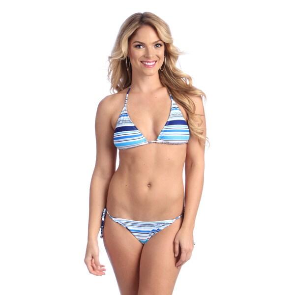 Women's Light Blue Striped String Bikini Set