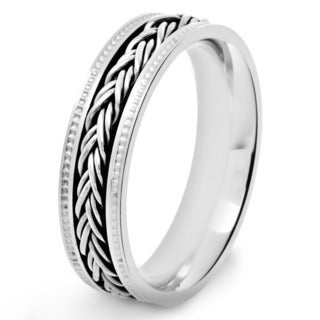 Crucible Polished Stainless Steel Braided Rope Inlay Milgrain Comfort Fit Ring - 6mm Wide