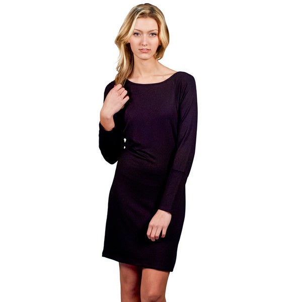 A to Z Women's Black Knee-length Batwing Dress