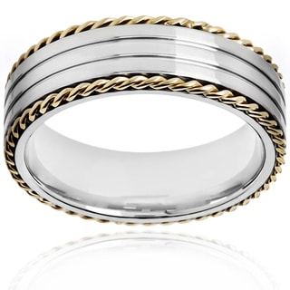 Crucible Two Tone Polished Stainless Steel Rope Border Grooved Comfort Fit Ring - 7mm Wide