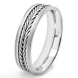 Crucible Polished Stainless Steel Braided Inlay Comfort Fit Ring (6mm) - White