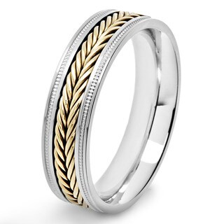 Crucible Two Tone Stainless Steel Braided Inlay Comfort Fit Ring (6mm) - White