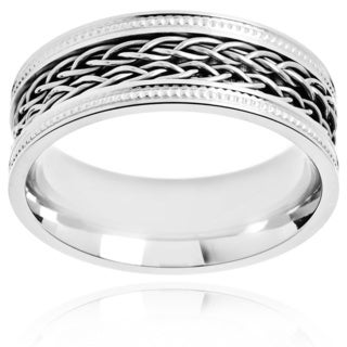 Crucible Polished Stainless Steel Dual Braided Rope inlay Milgrain Comfort Fit Ring - 8mm Wide