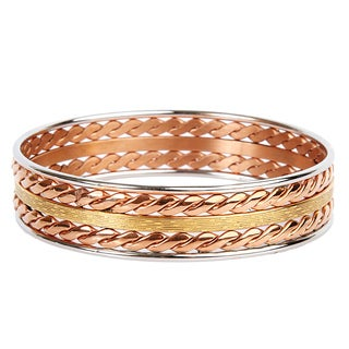 ELYA Tri-tone Stainless Steel Bangle Bracelet