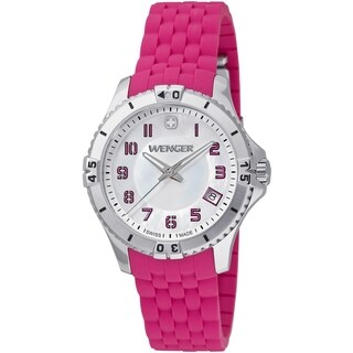 Wenger Women's Squadron Mother-Of-Pearl Dial Pink Rubber Watch - 0121.101