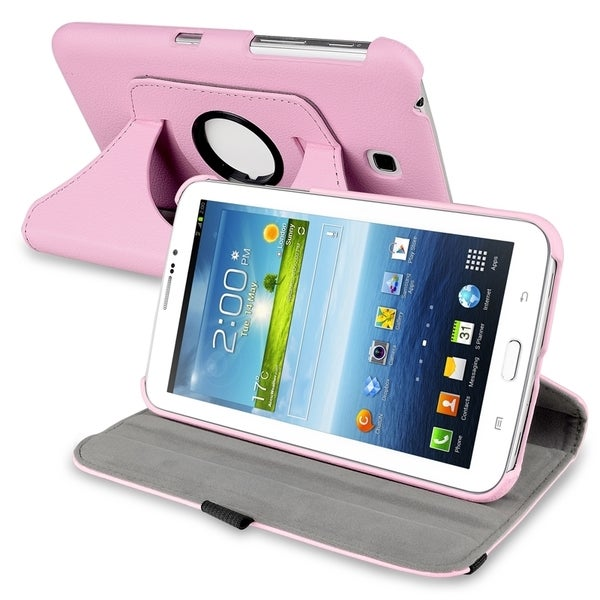 INSTEN Pink Swivel Leather Tablet Case Cover for Samsung Galaxy Tab 3 7.0