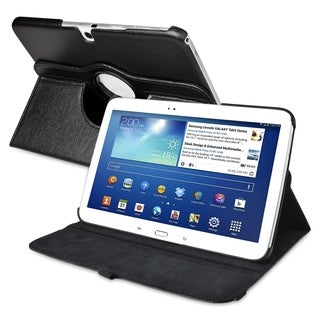 INSTEN Black Swivel Leather Tablet Case Cover for Samsung Galaxy Tab 3 10.1