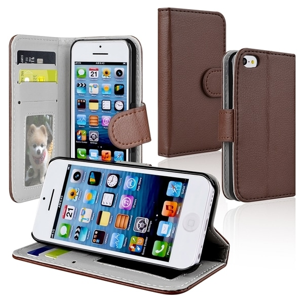 BasAcc Brown Wallet Leather Case with Stand for Apple® iPhone 5C