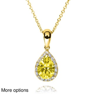 Annello by Kobelli 14k Yellow or White Gold Yellow Moissanite and 1/8ct TDW Diamond Pear-cut Necklac