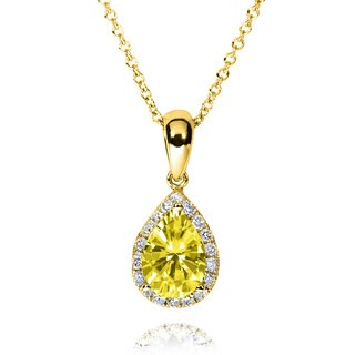 Annello by Kobelli 14k Gold 1ct TGW Pear-cut Yellow Colored Moissanite and Diamond Halo Droplet Necklace