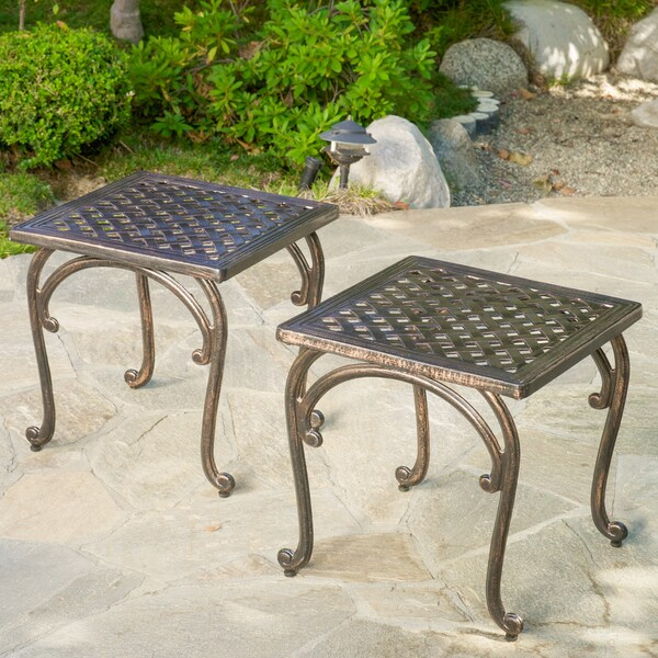 Mckinley Cast Outdoor End Table (Set of 2) by Christopher Knight Home