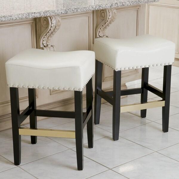 Shop Louigi Ivory Leather Backless Counter Stools Set Of