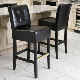 Macbeth Black Leather Barstools (Set of 2) by Christopher Knight Home