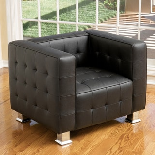McQueen Black Leather Tufted Club Chair by Christopher Knight Home