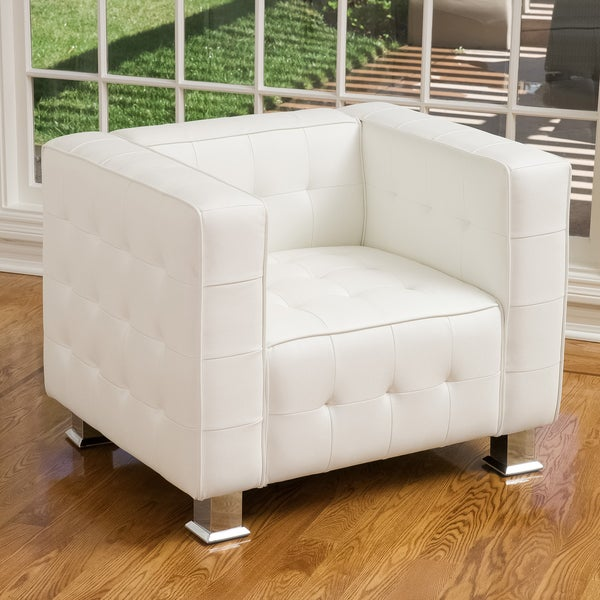 Superbe McQueen White Leather Tufted Club Chair By Christopher Knight Home