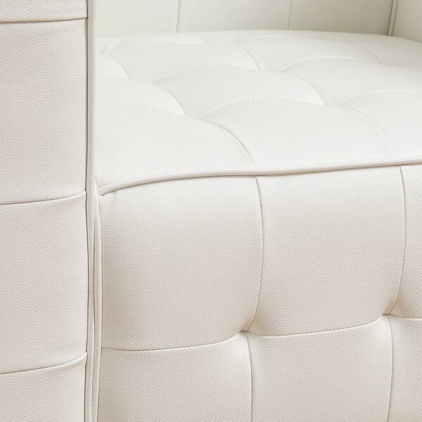 Shop McQueen White Leather Tufted Club Chair by Christopher ...