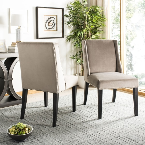 "Safavieh En Vogue Dining Humphry Mushroom Taupe Dining Chairs (Set of 2) - 22"" x 26"" x 39.8"""