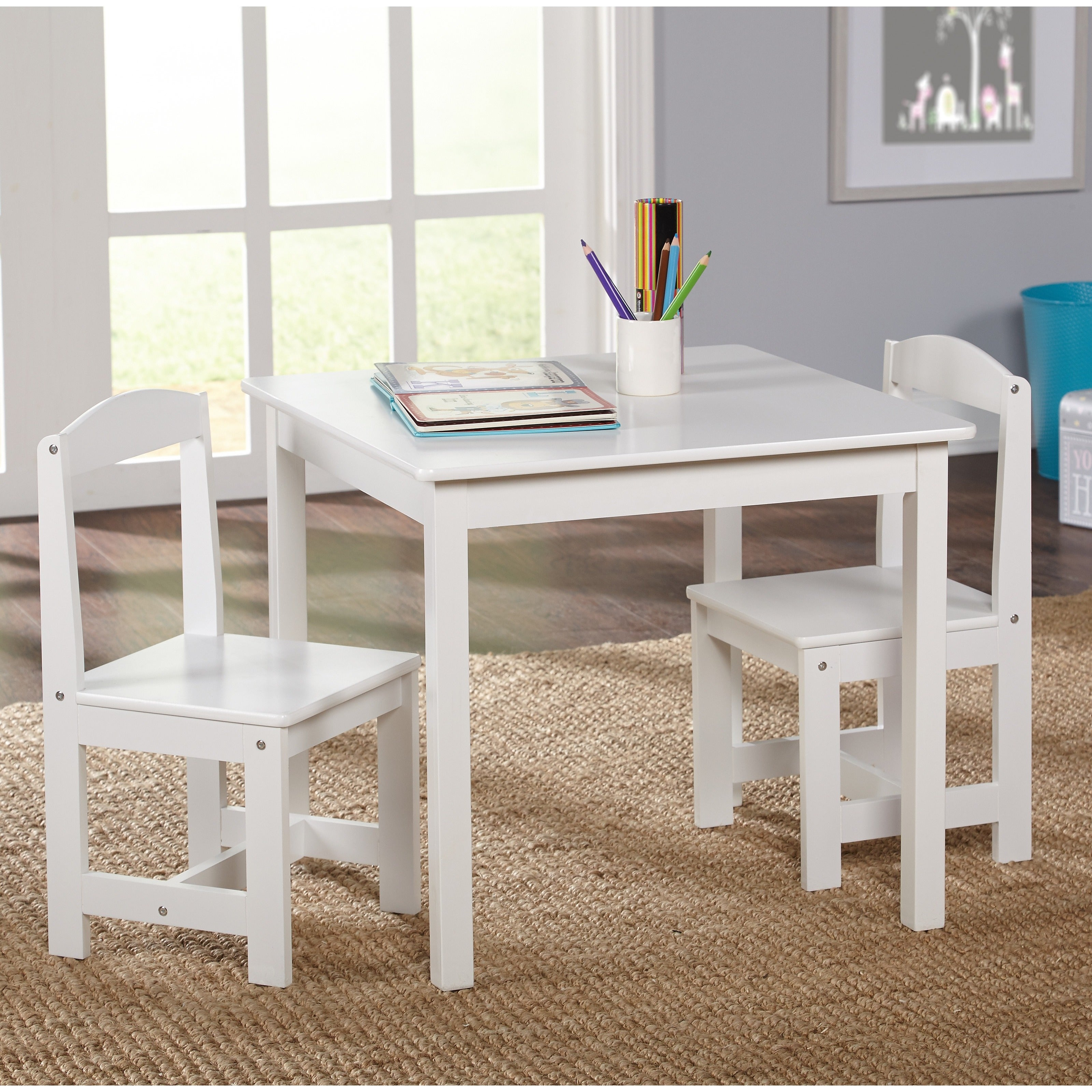 Simple Living White 3-piece Hayden Kids Table/Chair Set (...