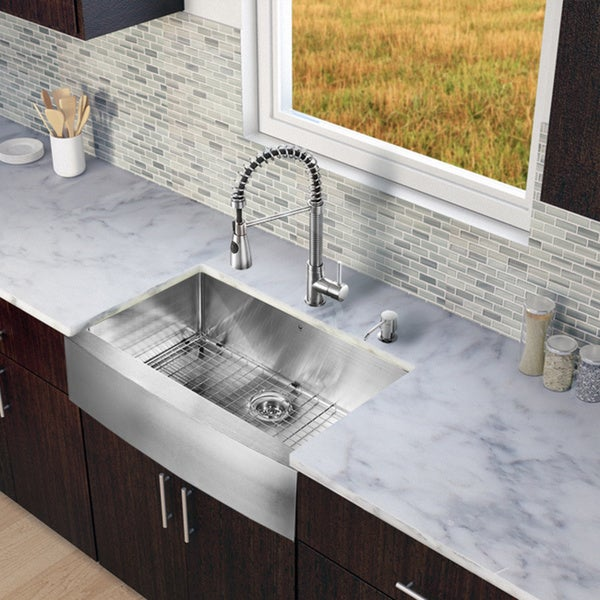 33 Inch Stainless Steel Farmhouse Sink : VIGO All-in-One 33-inch Farmhouse Stainless Steel Kitchen Sink/ Faucet ...