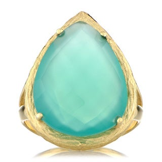 Goldtone Faceted Pear-cut Green Onyx Cocktail Ring