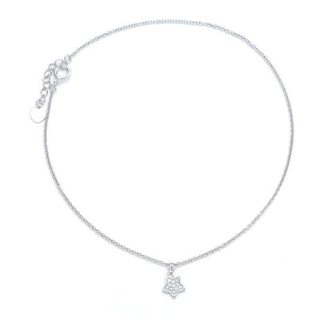 Blue Box Jewels Rhodium-plated .925 Sterling Silver Cubic Zirconia Dangle Star Anklet