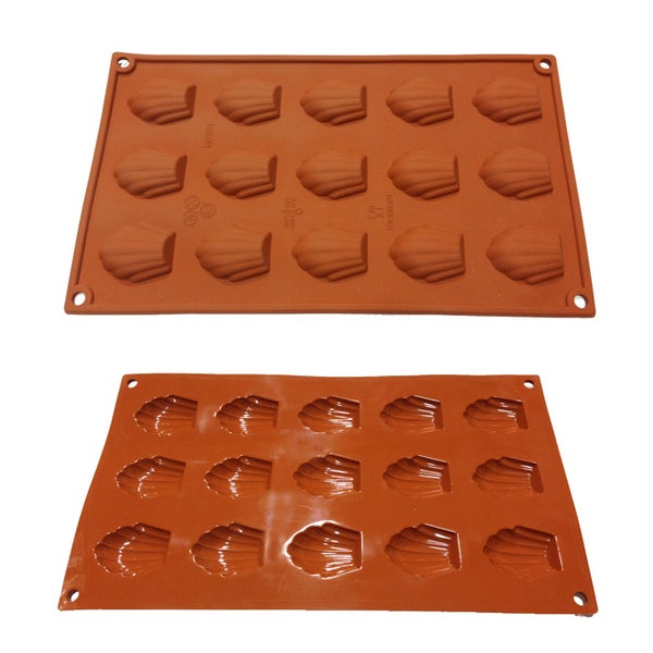 Universal 15-cavity Mini Madeleine Silicone Mold Baking Pans