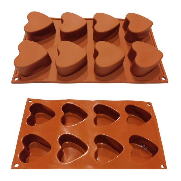 Universal 8-cavity Heart Shaped Candy Pastry Silicone Mold Baking Pans