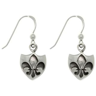 Carolina Glamour Collection Silver Fleur de Lis Shield Earrings